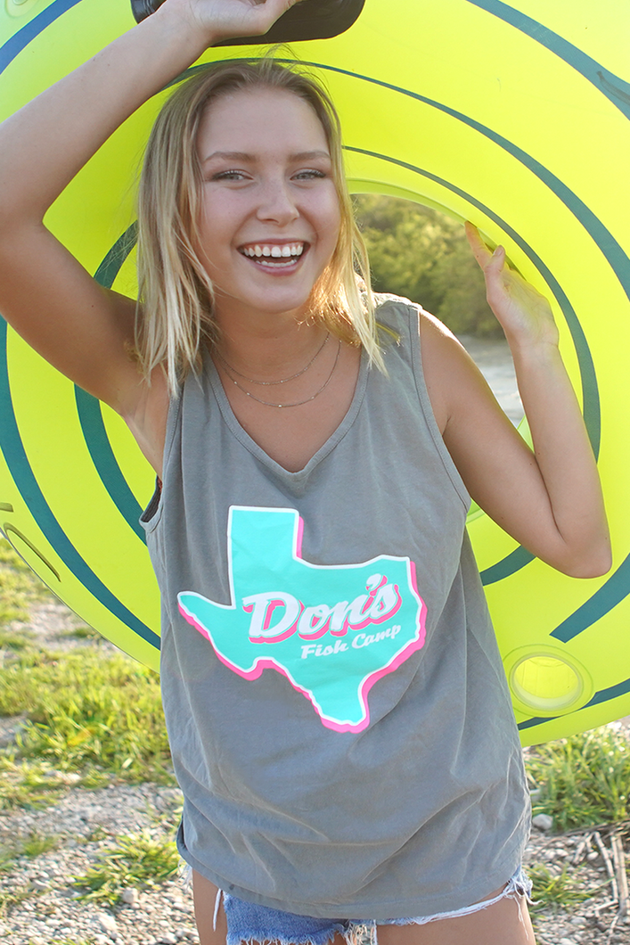 Don's Texas Tank Top - Pink/Mint - Grey