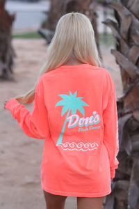 Don's Palm Tree Long Sleeve - Mint/White - Coral