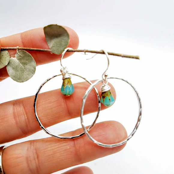 Earrings hoops and garnet, moonstone, labradorite  beads handmade by impromptu jewelry