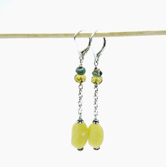 Long Korean Jade Gemstone Earrings - Impromptu Jewelry