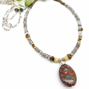 African Turquoise and Moonstone Long Necklace - Impromptu Jewelry