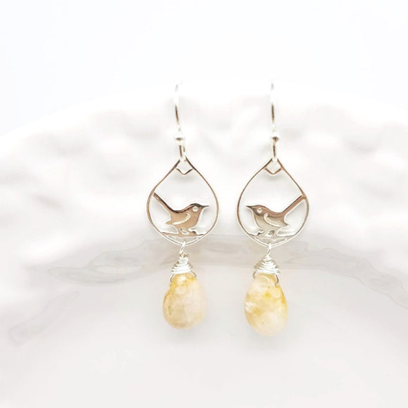 Silver Wren and Moonstone Earrings - Impromptu Jewelry