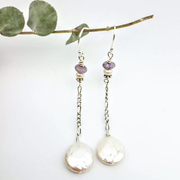 Coin White freshwater pearl long silver chain earrings handmade by impromptu jewelry