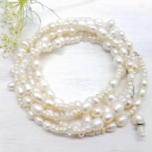 Pearl and glass bead wrap bracelet handmade by impromptu jewelry