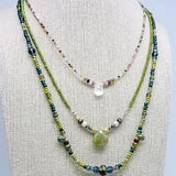 green aventurine and freshwater pearl handmade necklace impromptu jewelry