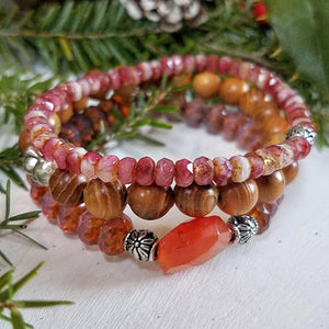 Stacking Wood, Gemstone and Czech Bead Bracelets - Impromptu Jewelry