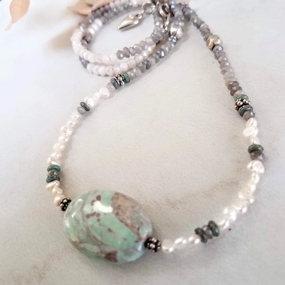 Chrysoprase and Moonstone Necklace - Impromptu Jewelry