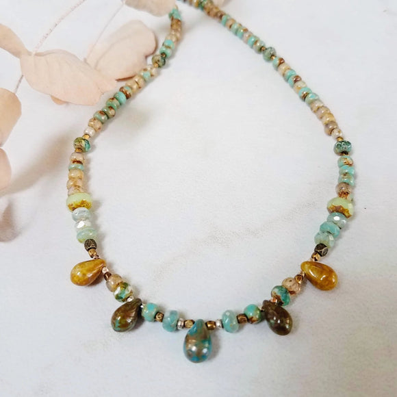 Bead czech boho bead necklace handmade by impromptu jewelry