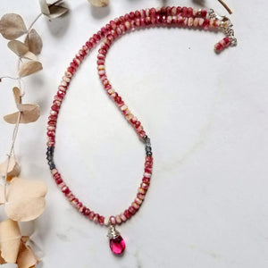 Pink Faceted Quartz Pendant Necklace - Impromptu Jewelry