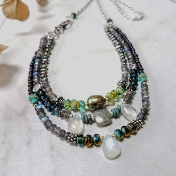 Beaded Necklace with glass Beads, Gemstones and Pearls