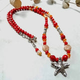 Starfish Silver Pendant and Coral Beaded Necklace - Impromptu Jewelry
