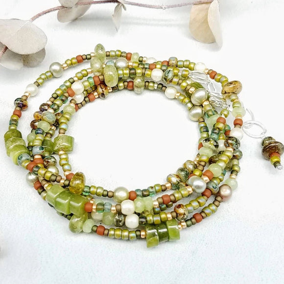 Olive green wrap bracelet-Necklace handmade by impromptu jewelry