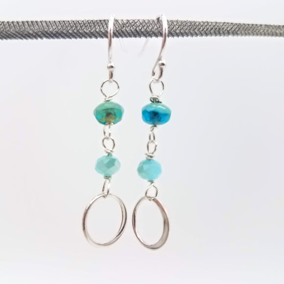 Blue Czech Bead Earrings