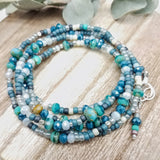 Blue bead wrap bracelet converts to Necklace handmade by impromptu jewelry