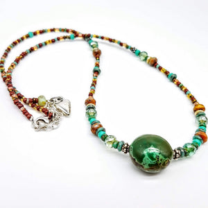 African Turquoise and Czech Bead Necklace - Impromptu Jewelry