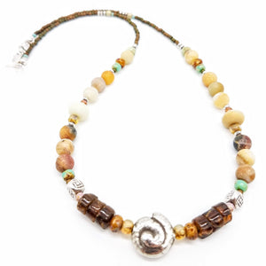 Amazonite topaz and Thai silver nautilus shell necklace handmade by impromptu jewelry