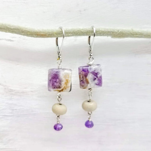 Amethyst gemstone earrings handmade by impromptu jewelry