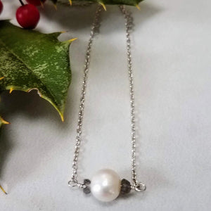 Baroque white freshwater pearl and sterling silver chain necklace handmade by impromptu jewelry