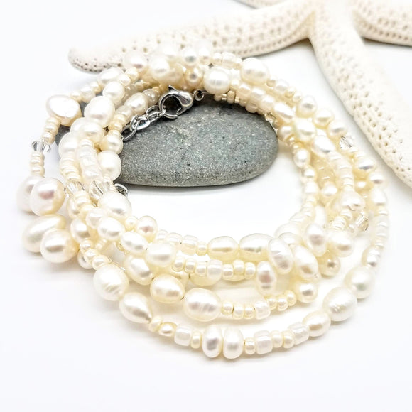 Beaded Wrap Bracelet that doubles as a Necklace with a versatile style that is perfect for a Spring bride by Impromptu jewerly