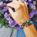 Beaded southwest wrap bracelet converts to necklace handmade by impromptu jewelry