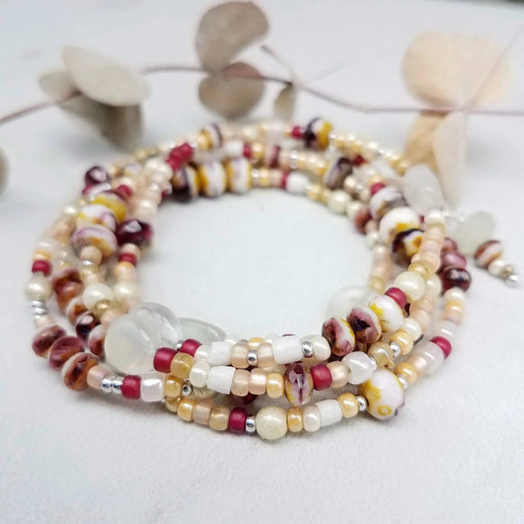 Beaded wrap bracelet rose and blush handmade by impromptu jew