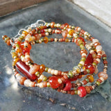 Carnelian gemstone wrap bracelet converts to a necklace handmade by Impromptu jewelry