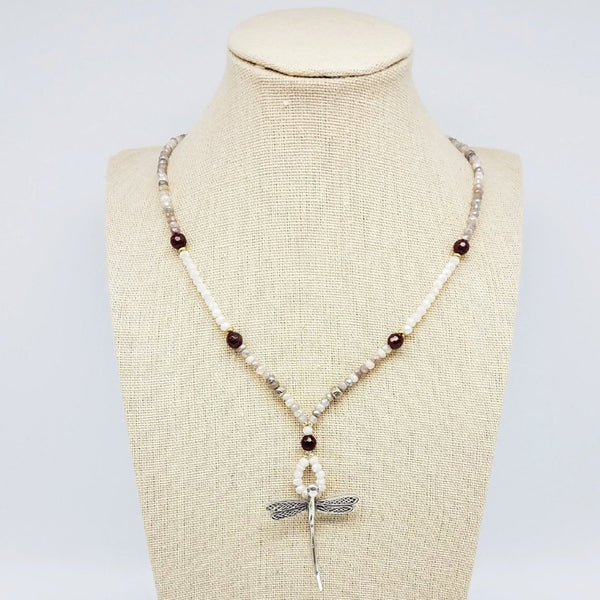 Dragonfly Thai Silver Pendant and Moonstone Necklace - Impromptu Jewelry