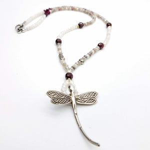 Dragonfly Silver Pendant and Moonstone and garnet Necklace - Impromptu Jewelry