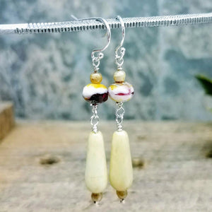 Glass drop beaded earrings in Creme handmade by impromptu jewelry