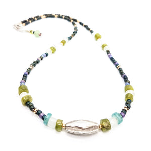 Hand-beaded Necklace in Ocean Blues and Greens - Impromptu Jewelry