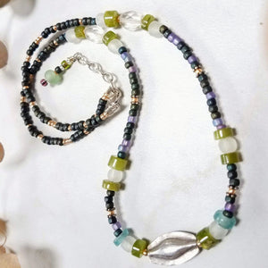 Beaded Boho Necklace with Handmade Silver