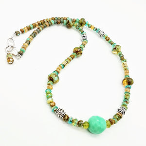 Handmade seafoam green Czech beaded neckalce by Impromptu jewelry