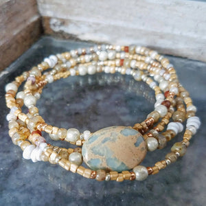 Impressionist jasper beaded wrap bracelet converts to necklace handmade by impromptu jewelry