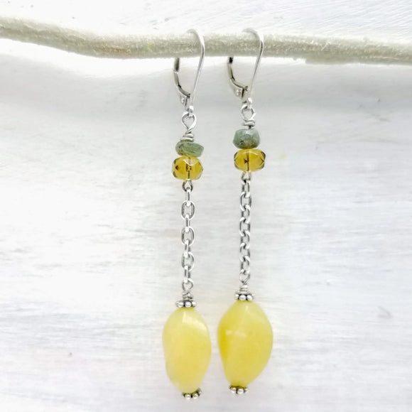 Korean jade long dangle earrings handmade by impromptu jewelry