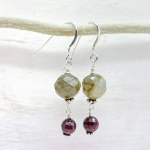 Labradorite and garnet dangle earrings  handmade by impromptu jewelry