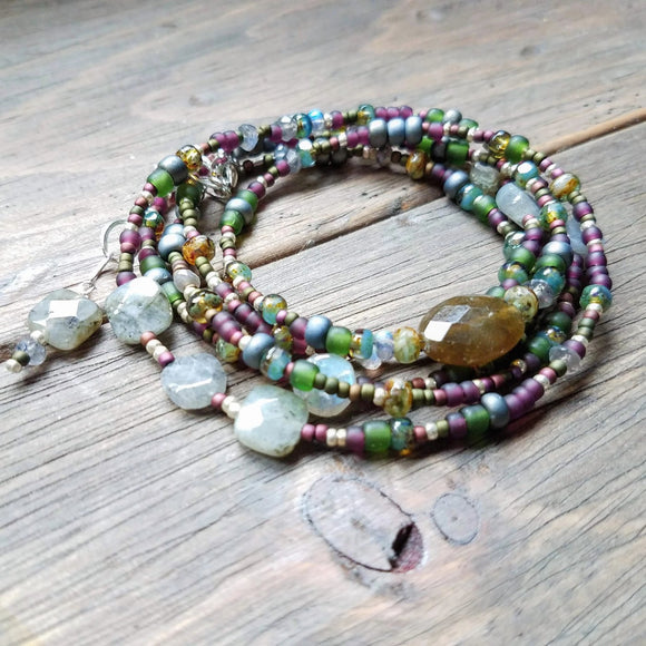 Labradorite and glass bead wrap bracelet converts to necklace handmade by impromptu jewelry