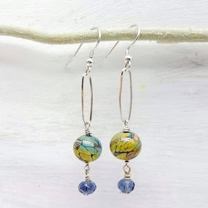Lampwork bead and silver dangle earrings handmade by impromptu jewelry