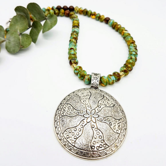 Large Tibetian silver pendant and czech bead handmade necklace by impromptu jewelry