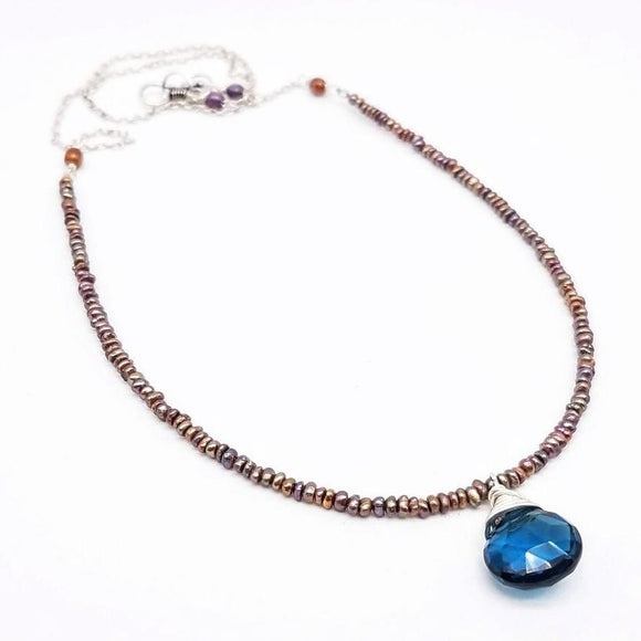 London Blue Quartz Pendant and Freshwater Pearl Necklace - Impromptu Jewelry