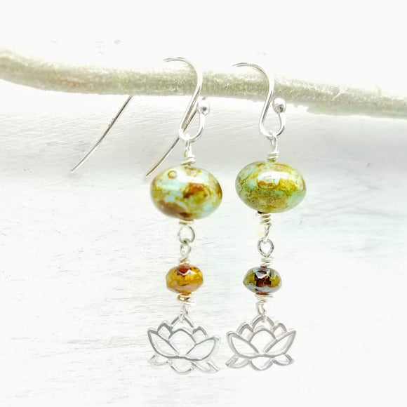 Lotus flower and glass bead handmade earrings by impromptu jewelry