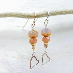 Open sterling silver heart and glass bead earrings