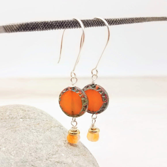 Czech Bead Dangle Earrings