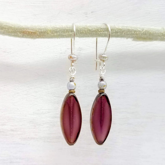 Plum Czech glass bead earrings handmade by impromptu jewelry