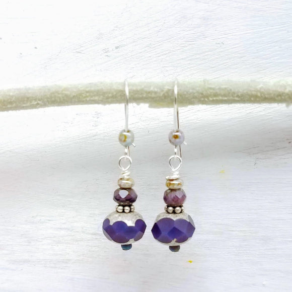Purple glass beads handmade by impromptu jewelry
