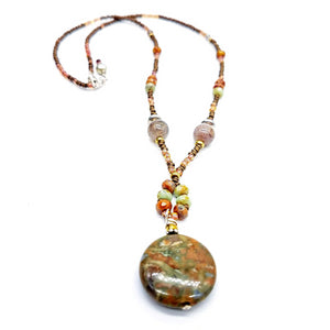 Rainforest Jasper and Czech Bead Necklace - Impromptu Jewelry