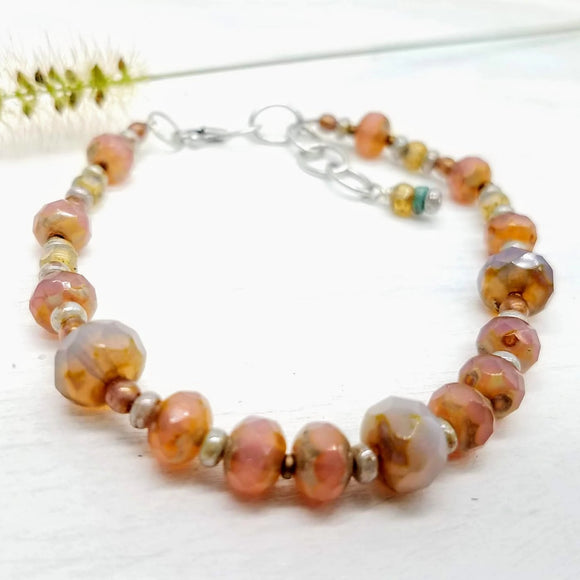 Salmon faceted glass Czech beaded bracelet handmade by Impromptu Jewelry
