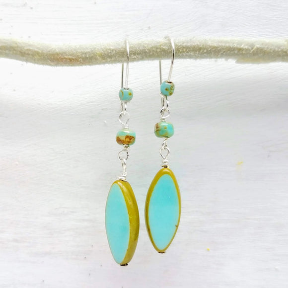 Seafoam green glass bead earrings handmade by impromptu jewelry