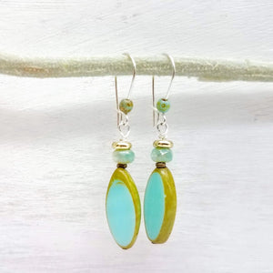 Seafoam green spindle shape glass bead earrings handmade impromptu jewelry