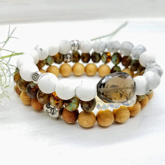 Stacker bracelet set with smoky topaz and wood, handmade by impromptu jewelry