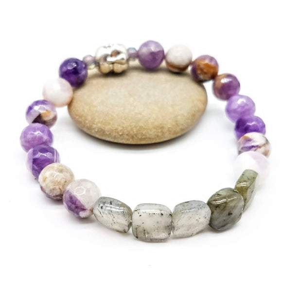 Gemstone amethyse and labradorite stretch bracelet